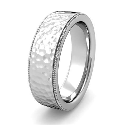 Mens Hammered Finish Wedding Ring in Platinum Comfort Fit