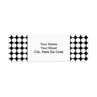 White Polka Dots on Black return address label