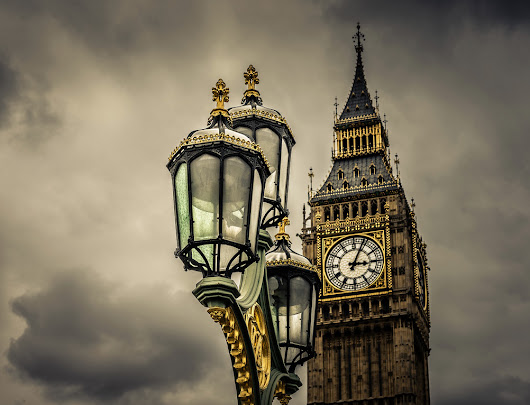 Elizabeth Tower (Big Ben) and Lanterns on Westminster Bridge