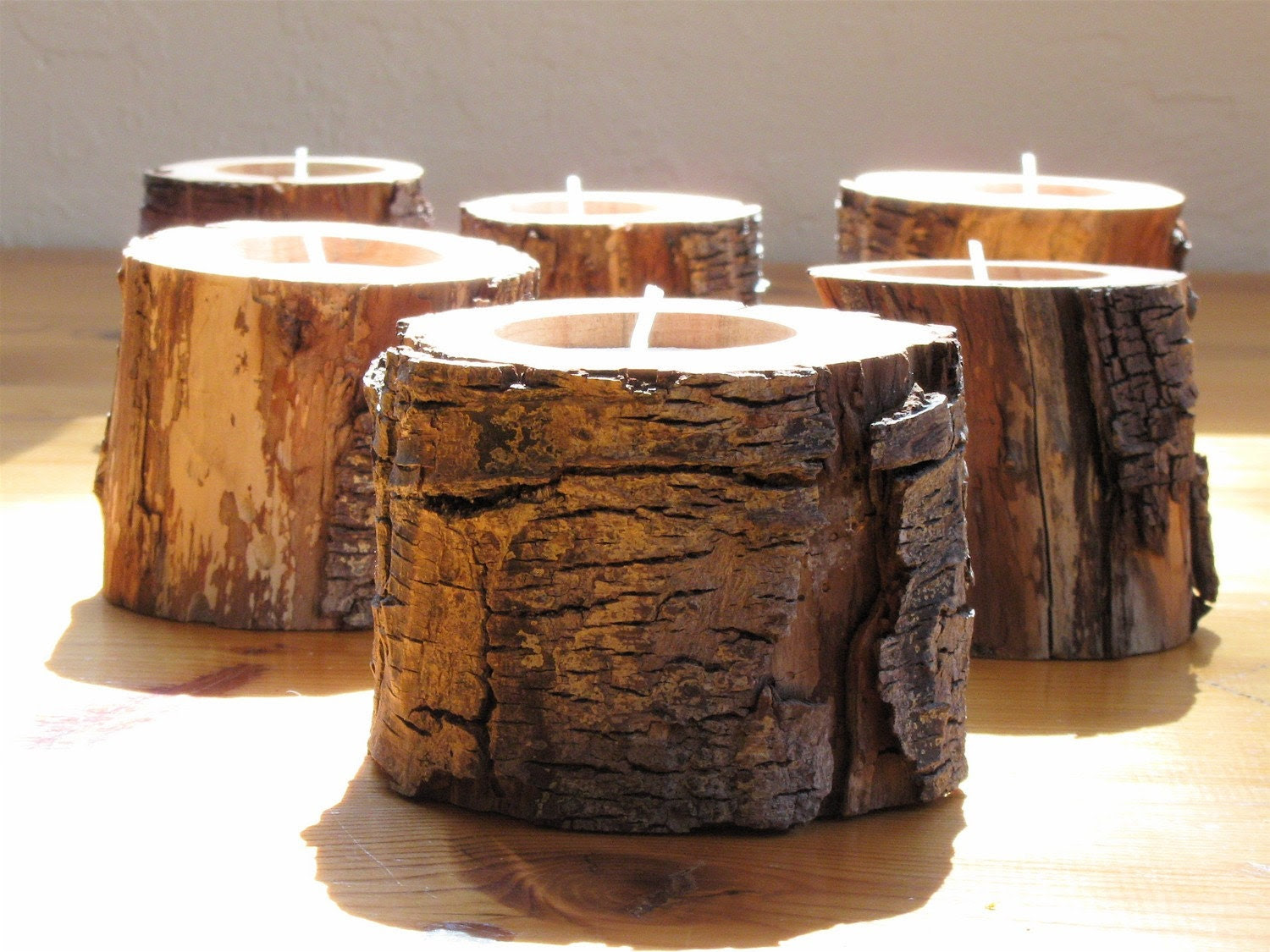 6 Woodland DRIFTWOOD Candle Holders Eco by NaturesCabinet on Etsy