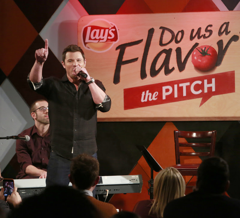 "Multiplatinum recording artists Nick and Drew Lachey ""pitch"" their flavors to a live audience at Carolines on Broadway, announcing Lay's ""Do Us a Flavor"" 2017 Monday, Jan. 9, 2017 in New York. The latest installment, ""The Pitch,"" invites fans to simply pitch the inspiration behind their best flavor ideas. Fans can submit their pitches starting today at Lays.com. (Photo by Mark Von Holden/Invision for Lay's/AP Images)"