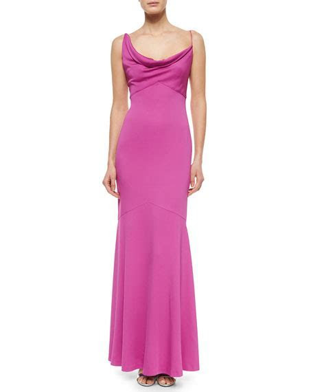 Nicole Miller Sleeveless Cowl Neck Mermaid Gown