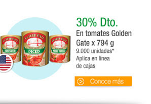 Tomates Golden Gate x 794 g - 9.000 unidades* Aplica en línea de cajas - 30% Dto.