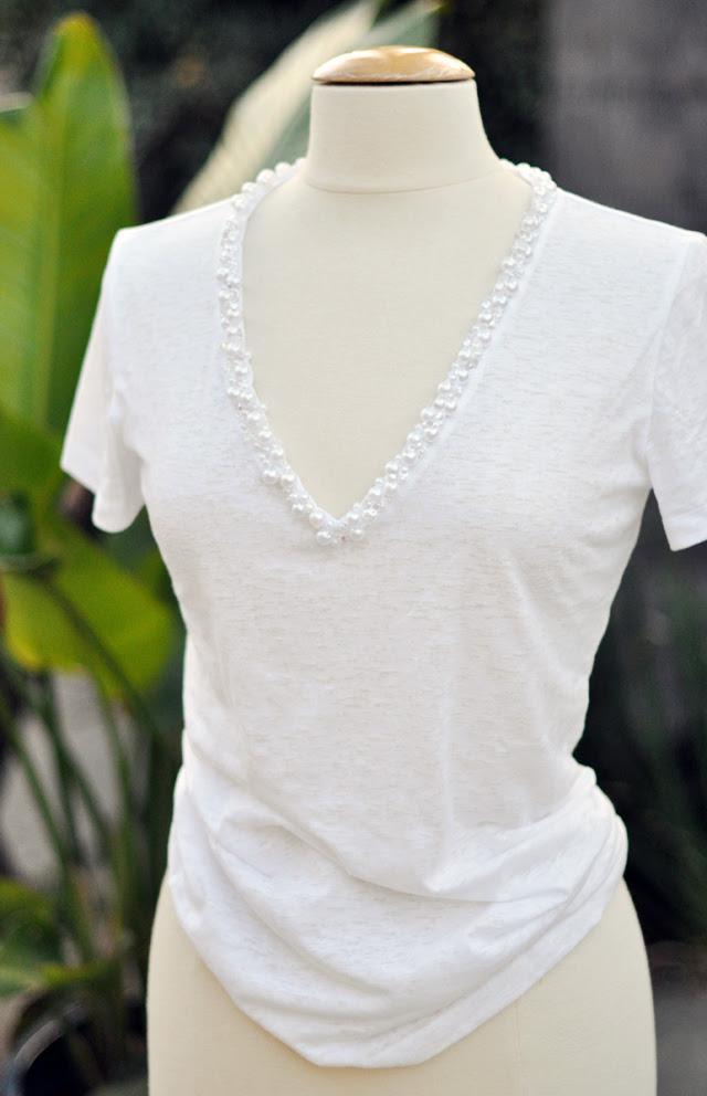 pearl encrusted deep v tshirt diy