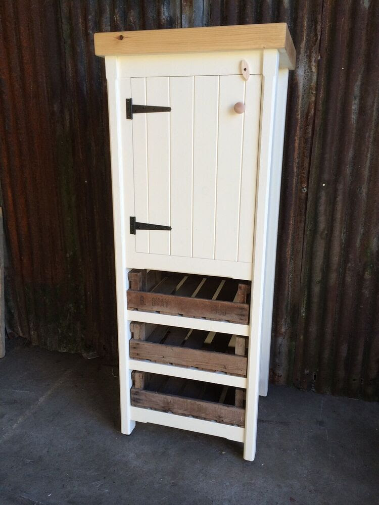 Tall Rustic Pine Freestanding Kitchen Cupboard Pantry ...