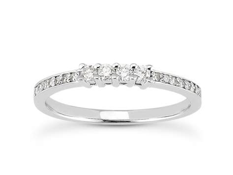 14k White Gold Diamond Wedding Ring Band with Prong and