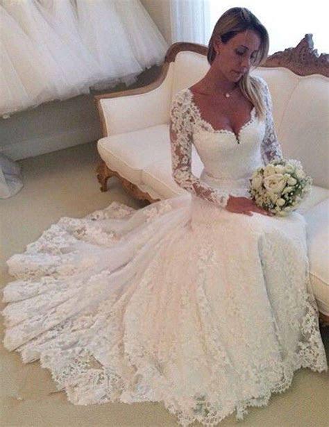 Vintage Lace Long Sleeve Mermaid China wedding dresses