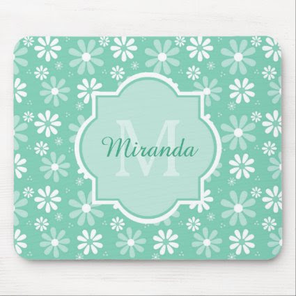 Girly Monogram Mint White Daisy Flowers With Name Mouse Pad