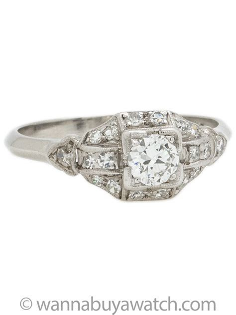 Diamond Engagement Ring Platinum circa 1930s Art Deco