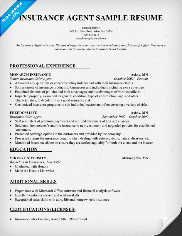 Auto Insurance4u Insurance Resume Samples And Tips Sorted