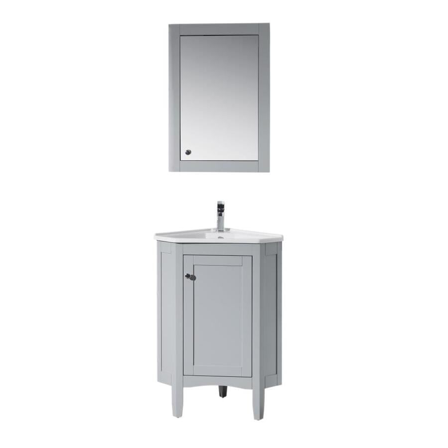 Stufurhome 17 In Gray Single Sink Bathroom Vanity With White Ceramic Top Mirror Included In The Bathroom Vanities With Tops Department At Lowes Com