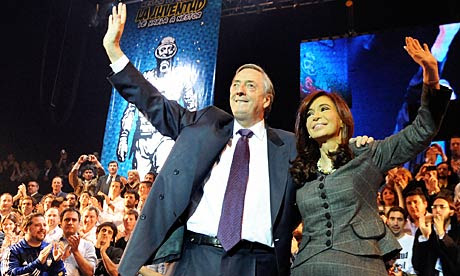 Cristina and Nestor Kirchner, at a rally in Buenos Aires.