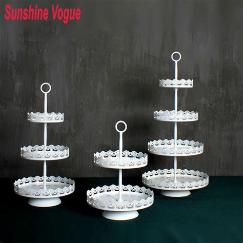 White Metal Cupcake Stand. Homeford Round Eyelet Metal