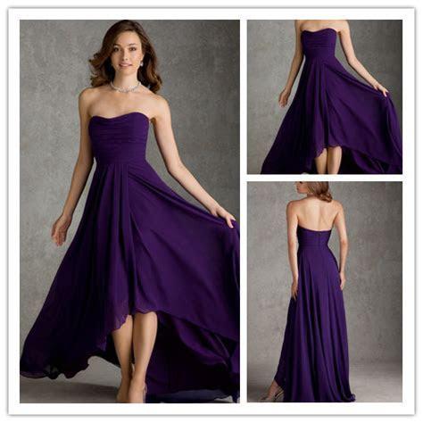 Elegant Purple Short Front Long Back Sweetheart Chiffon