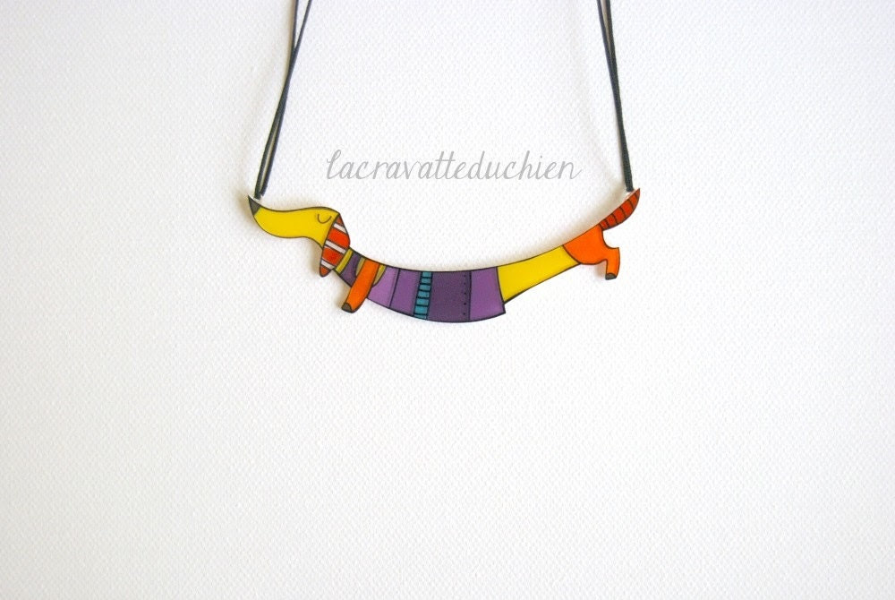 Dachshund jewelry - Dachshund dog necklace - Acrylic colorful jewelry - gift for her