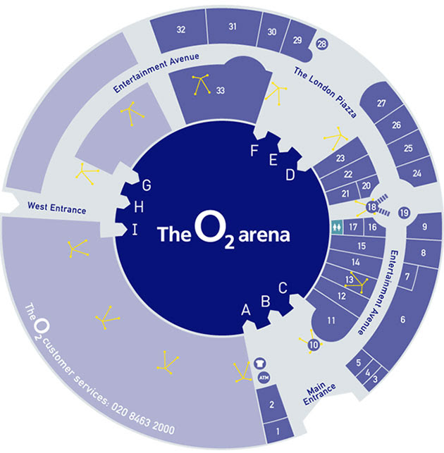 O2 Arena Map Bedroom 2018