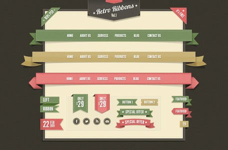 Retro Web Ribbons Vintage Psd Pack, Vector Files - Clipart.me