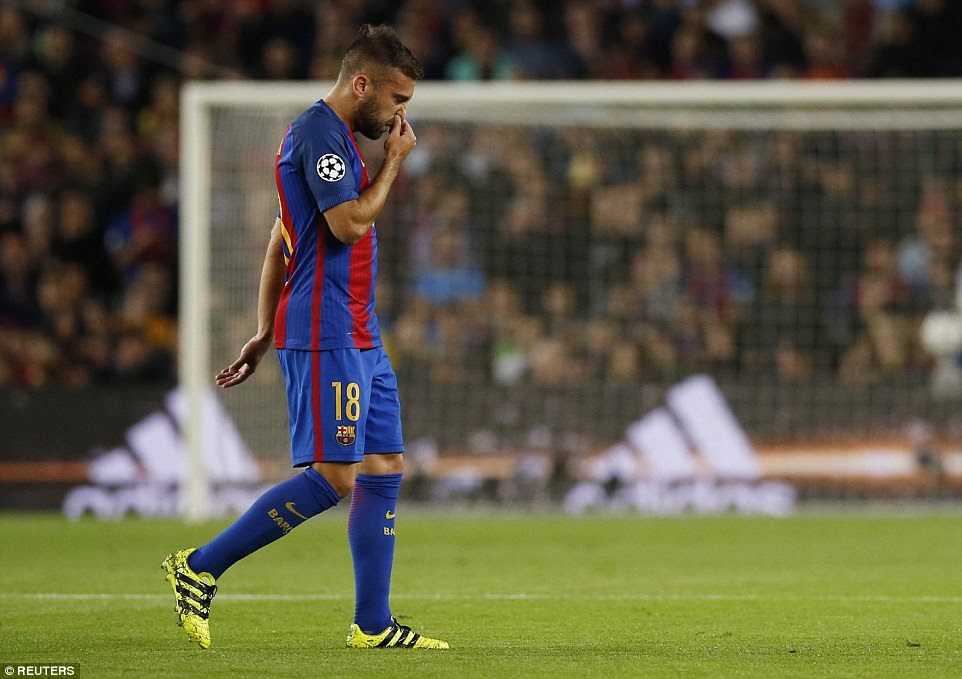 And the visitors were given a boost when first-choice left back Jordi Alba was forced off with an injury early on