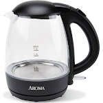 Aroma 1.2L Glass Kettle, Clear