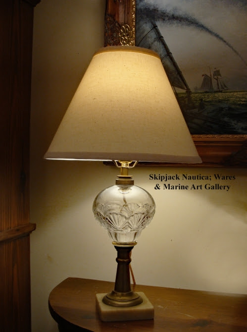 Nautical Table Lamp- 19th century Early American Pressed Glass With Rare Scallop Shell Design - Skipjack Nautical Wares