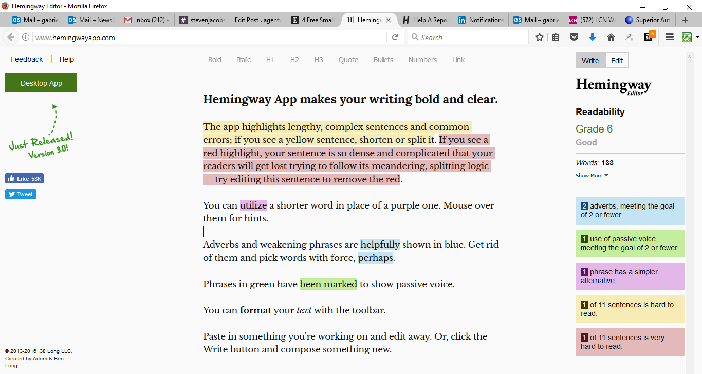 50 Free Marketing Tools Any Small Business Can Use - Hemingway App