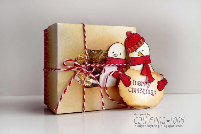 snowman treat box and tag