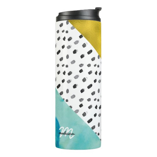Aqua and Gold Mixed Media Monogrammed Thermal Tumbler