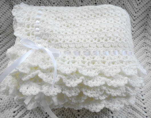Crocheted Victorian Baby Afghan, Crib Blanket in Ecru Lace Border