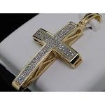 LADIES Y GOLD .25C DIAMOND CROSS JESUS PENDANT CHARM