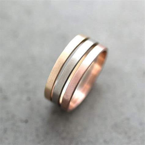 Gold Wedding Band Stackable Ring 2mm Flat Slim Recycled