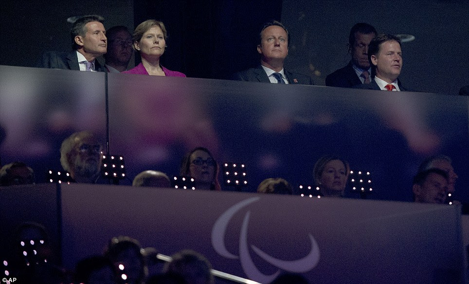 Proud moment: London Games organiser Lord Coe, Prime Minister David Cameron and Deputy Prime Minister Nick Clegg watch the Closing Ceremony
