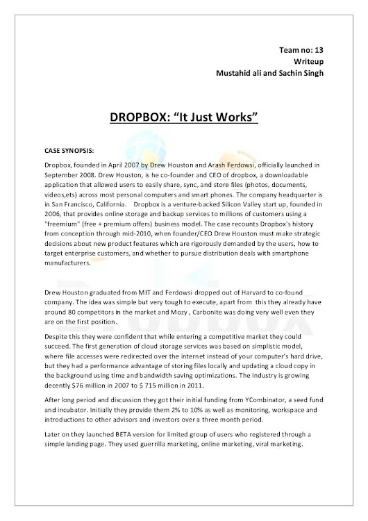 Dropbox  it just works-case study solution