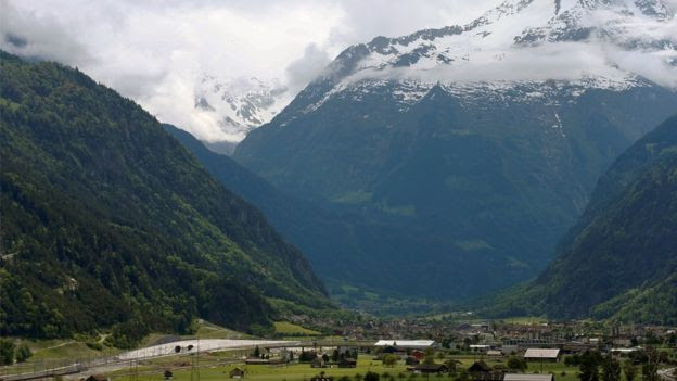 the northern gates of the Gotthard Base Tunnel near Erstfeld