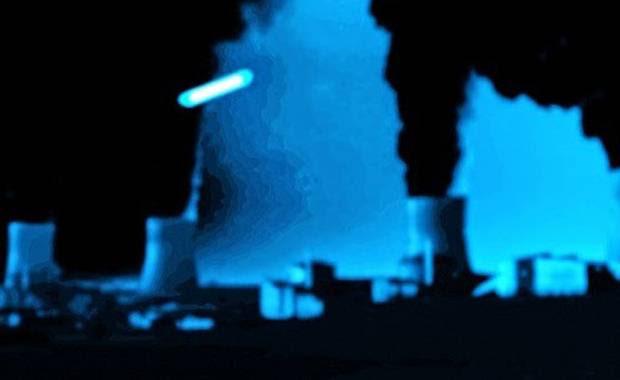 Recreación artística del avistamiento de un ovni sucedido el 10 de noviembre de 2014 en la Estación de Energía Nuclear Catternom.  (Credito: grewi.de).