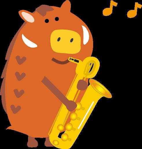 年賀状2019無料イラストいのしし君と楽器
