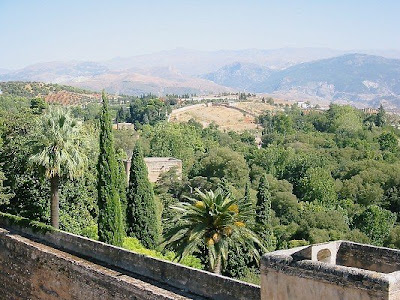 View of the Andalucian countryside from The Alhambra in Granada