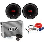 "(2) CXX104DVC,BAK82,AR1500M Boss Chaos Exxtreme 10"" inch 1000W DVC 4 Ohm Subwoofer w/ Amplifier & Amp Kit"