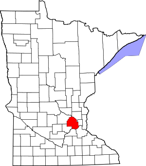 Map of Minnesota highlighting Hennepin County