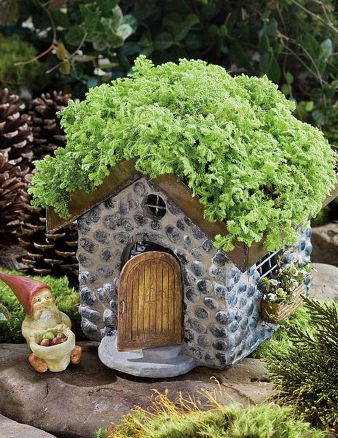 Kilkenny Miniature Fairy Cottage with Living Roof - Victorian - Outdoor Decor - kansas city - by Victorian Trading Co.