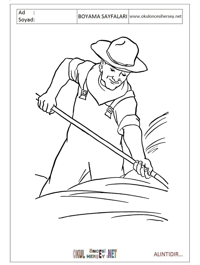 çiftçi Boyama Sayfaları