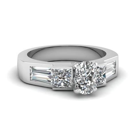 White Gold Baguette Diamond Discounted Engagement Ring In