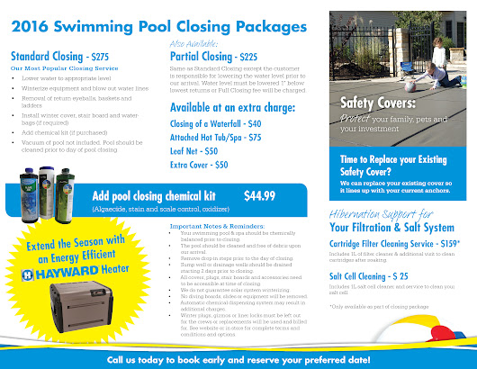 Closings | Mirage Pool Services