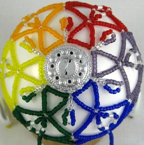 Beaded rainbow ornament