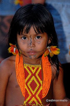 Brazil | a young Karajá indian girl photographed in Pina, Recife | © Edmar Melo, via Flickr