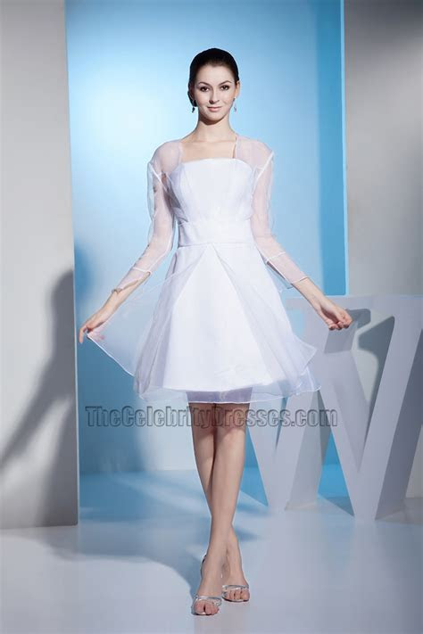 White Long Sleeve Organza Short Wedding Dress Cocktail