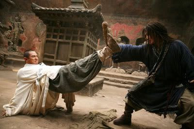 Lu Yan and The Silent Monk duke it out in THE FORBIDDEN KINGDOM.