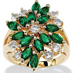 Emerald Green Crystal Cluster Cocktail Ring