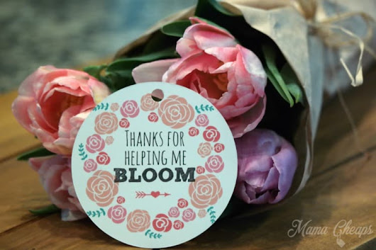 Teacher Flower Gift Printable Tag - Thanks for Helping Me Bloom! | Mama Cheaps