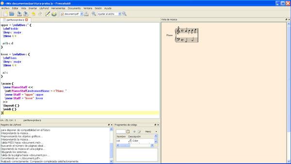 Instatánea de Frescobaldi 2 en Windows