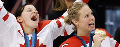 Canada's Sarah Vaillancourt, left, and Tessa Bonhomme. (AP Photo/Gene J. Puskar)